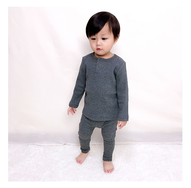 Soft Ribbed Toddler Girl Pajamas For Baby Boys Clothes Set Autumn Winter Children Outfits Long Sleeve Tops Pants 2 Pcs Kids Suit (2)