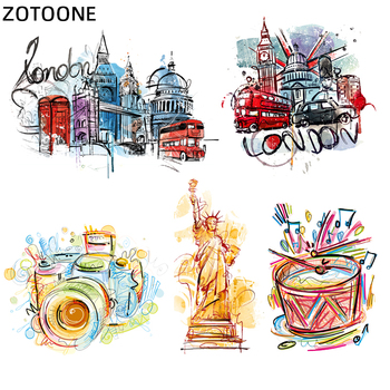 ZOTOONE Colorful London Statue of Liberty Patches Iron on Transfers for Clothing T-shirt Diy Kids Camera Stickers Heat Transfer zotoone rose patches iron on blooming flower stickers for clothing heat transfers diy plants patch for kids washable appliques d