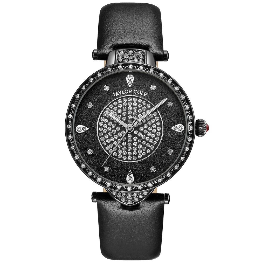 Stylish See-through Style Band Unique Logo-embossed Crown Luxury Quartz Watch With Stainless Steel Buckle For Taylor Cole Luxury