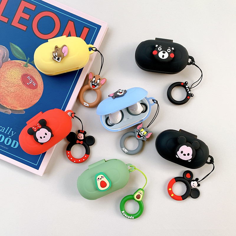 Cartoon Earphone Case For Samsung Galaxy Buds+ Silicone Bluetooth Earphone Cover With Cute Ring For Samsung Galaxy Buds