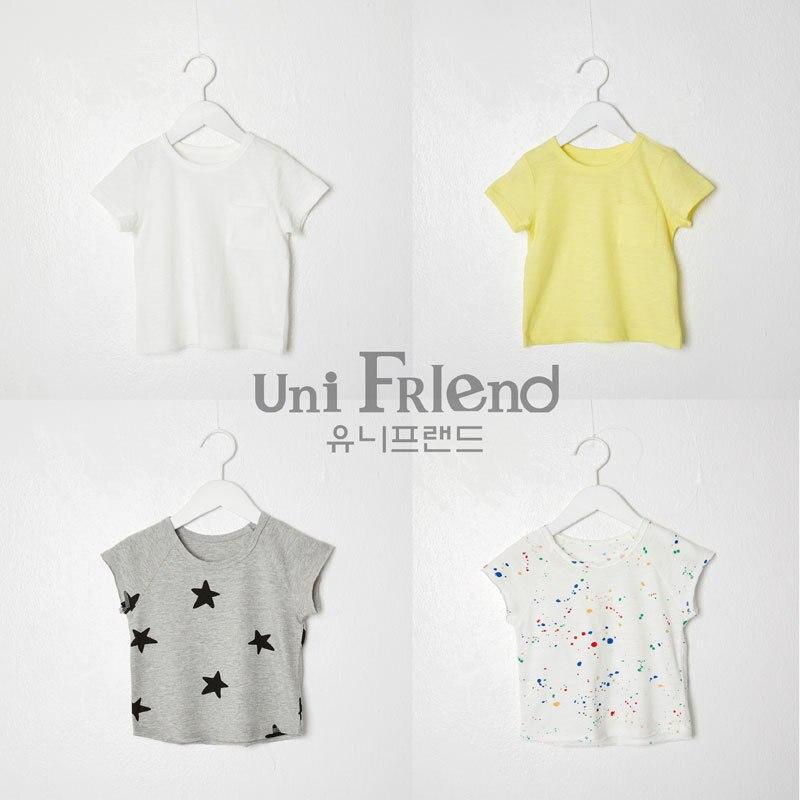 Unifriend South Korea Origional Product Import Childrenswear Men And Women Child Baby T-shirt Base Shirt 5 Short Sleeve Ultra-Th