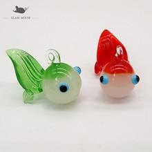 Custom Jade color Handmade Murano glass Goldfish ornament Pendant Home Aquarium fish tank Christmas decor Mini