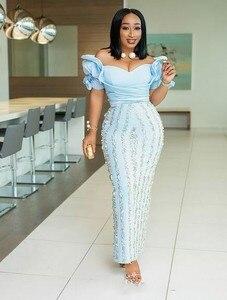 Image 3 - אור כחול בתוספת גודל ערב שמלות קרסול אורך ראפלס קצר שרוולי בת ים שמלה לנשף ואגלי אפליקציות אפריקאי שמלות