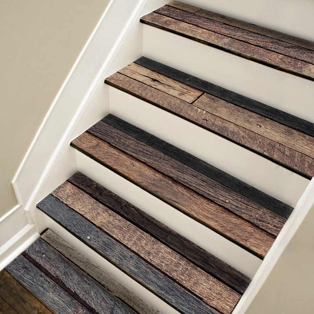 7Pcs Set 21 100Cm Wood Grain Multi Functional Sticker Mosaic | Wood Grain Tile On Stairs | Natural Wood | Contemporary | Basement | Upstairs | Subway Tile