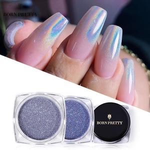 BORN PRETTY Nail Art Holographics Powder Laser Silver Glitter Chrome Pigment Nail Powder Shimmer Bling Flakes Decorations 1g