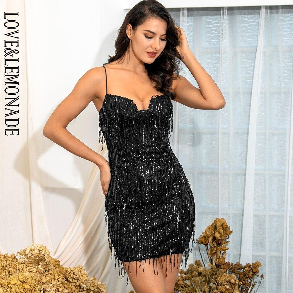 LOVE&LEMONADE Sexy Black Tube Top Sling Fringed Elastic Sequin Bodycon Party Mini Dress LM82125
