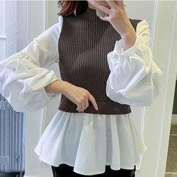 2020 봄 긴 소매 블라우스 한국 오피스 숙녀 우아한 세련된 가짜 두 조각 패치 워크 셔츠 인과 femele 탑스 블랙/그레이