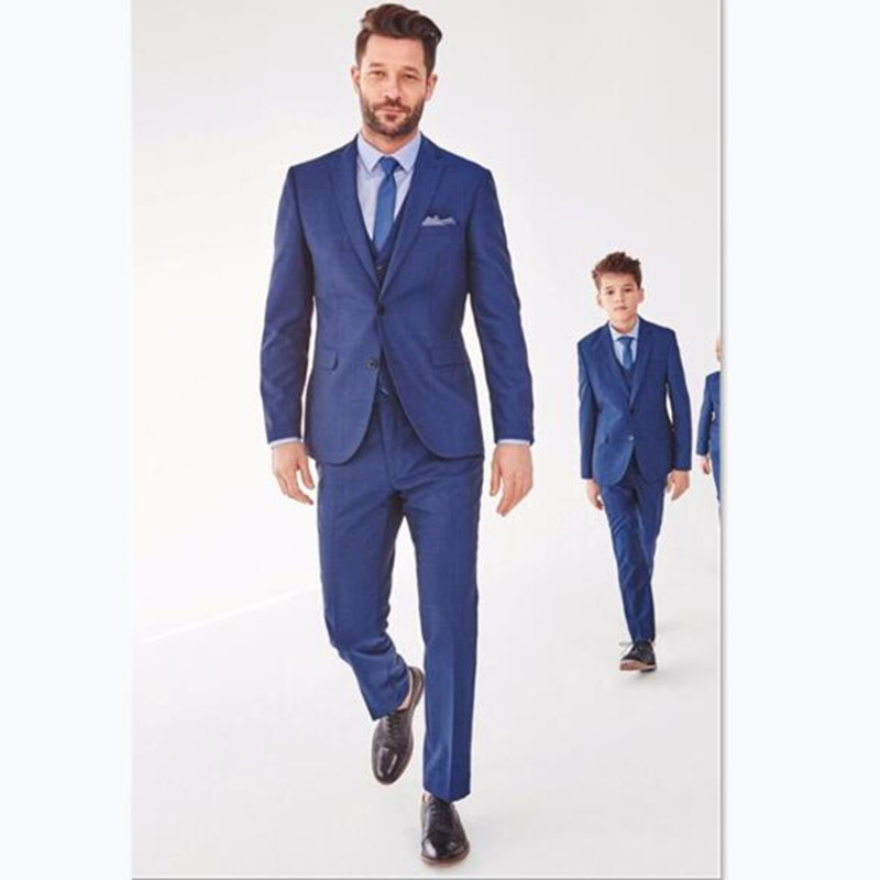 Custom Men's Suit Navy Blue Father And Son Matching Slim Fit Wedding Prom Dinner For Groom Tuxedos Best Man Attire