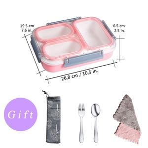 Image 2 - Szczelne pudełko na lunch oddzielne przedziały, w których można szkolne dla dzieci pojemnik bento pojemnik na jedzenie stołowe naczynia mikrofalowe pudełko na lunch dla dzieci