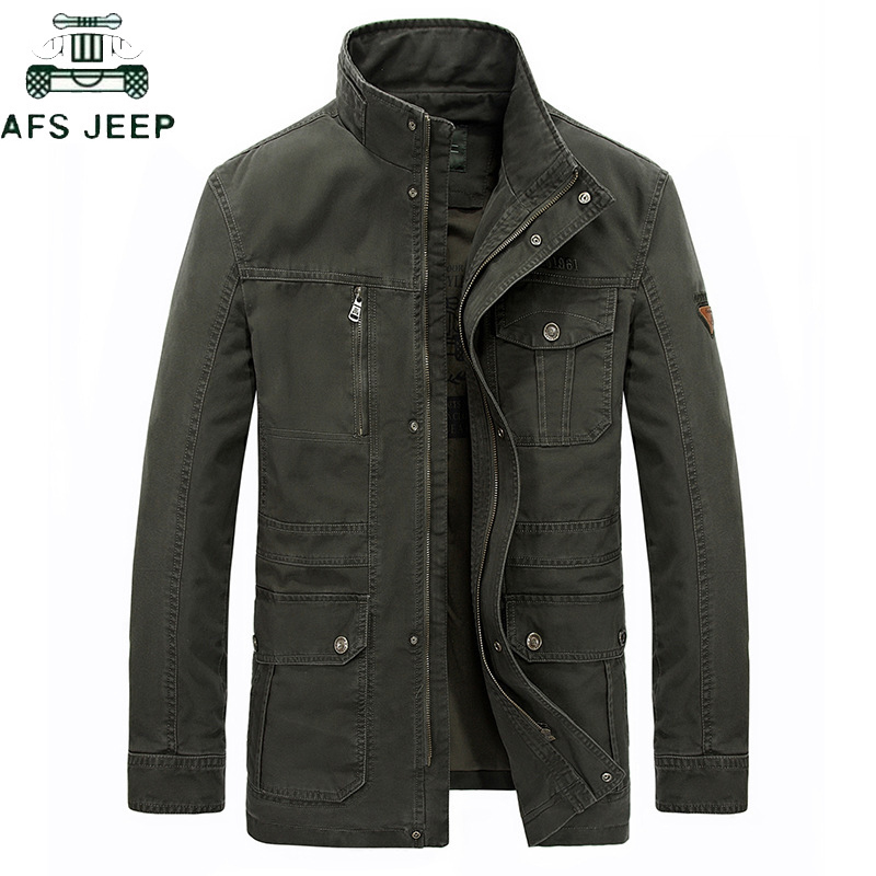 Brand AFS JEEP Plus Size 7XL 8XL Military Jacket Men 2019 Casual Stand Collar Cotton Winter Jackets Coats  Jaqueta Masculina