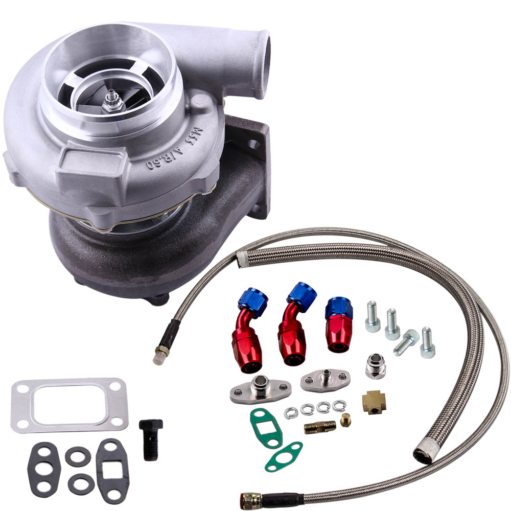 GT30 GT3037 GT3076 Turbo charger 500HP 0.82 A/R + Oil Drain Return FEED Line kit|Turbo Chargers & Parts| |  - title=