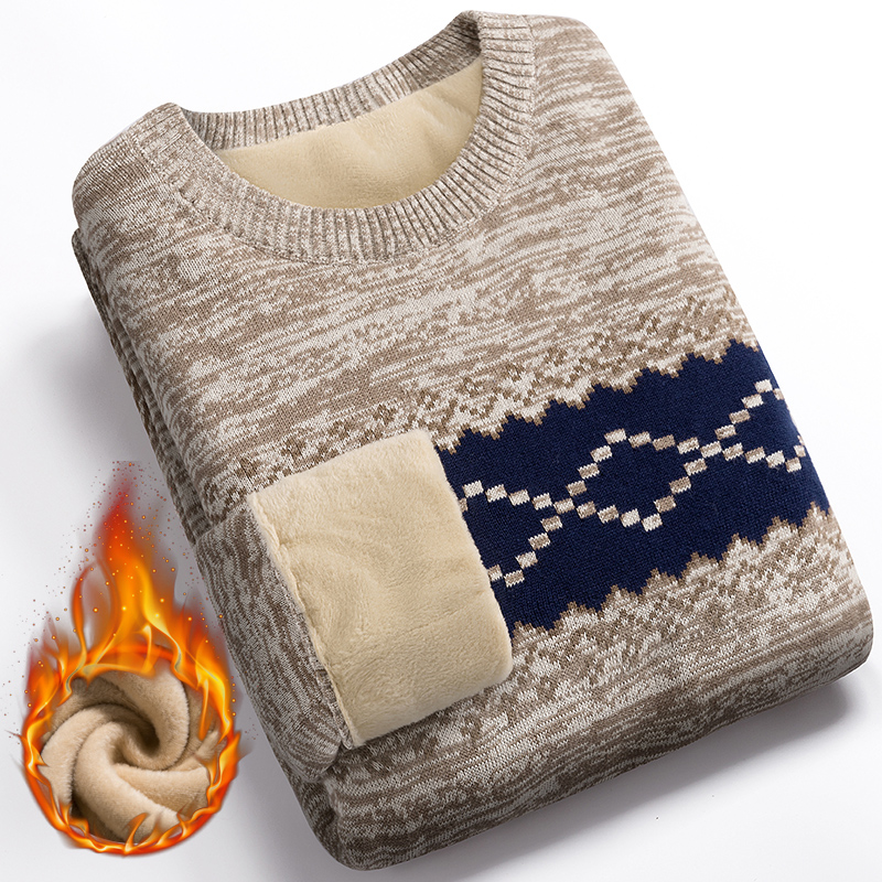 Winter Sweater For Men Plus Velvet 2020 New Fashion Thick Keep Warm Student Male Knitted Pullover Sweater Teenage Boys M60
