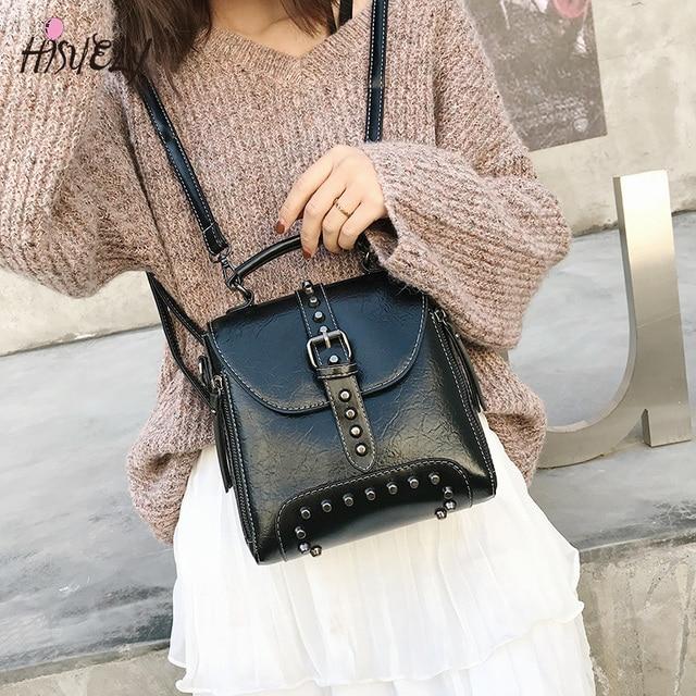 2020 New Retro Soft Women PU Leather Bag Rivet Messenger Bags Crossbody Fashion Designer Shoulder Bag Purses And Handbags Q3