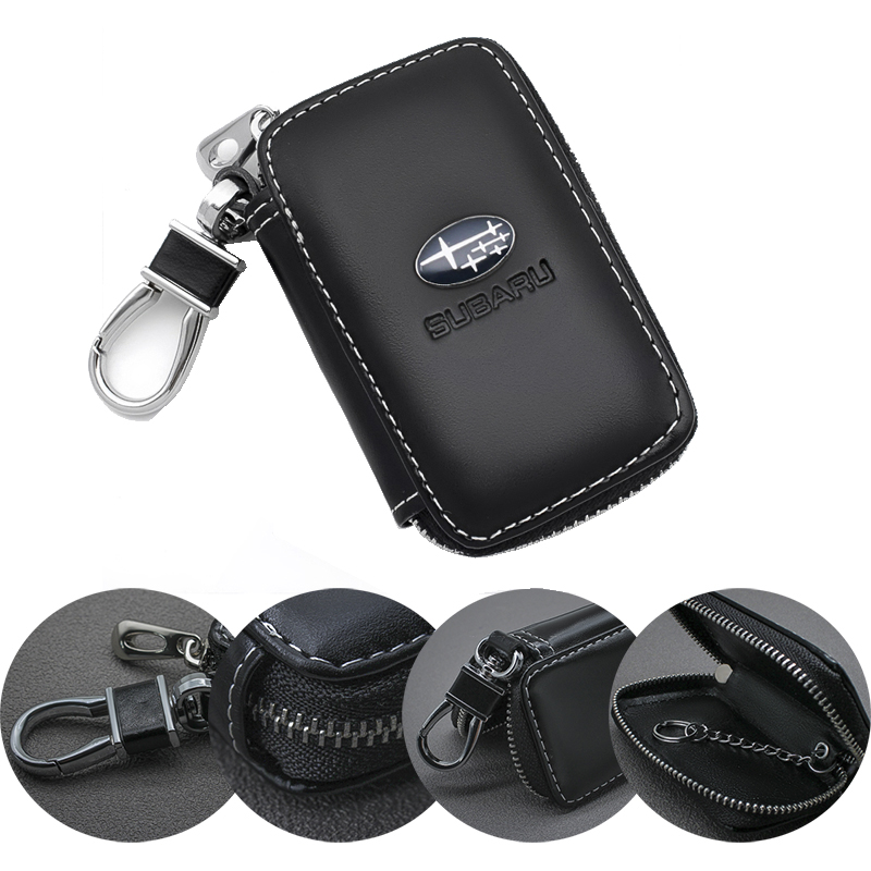 Auto Accessories Car Key case Leather Key Chain Keychain Holder Metal Hook and Keyring Zipper Bag For Remote Key Fob For Subaru