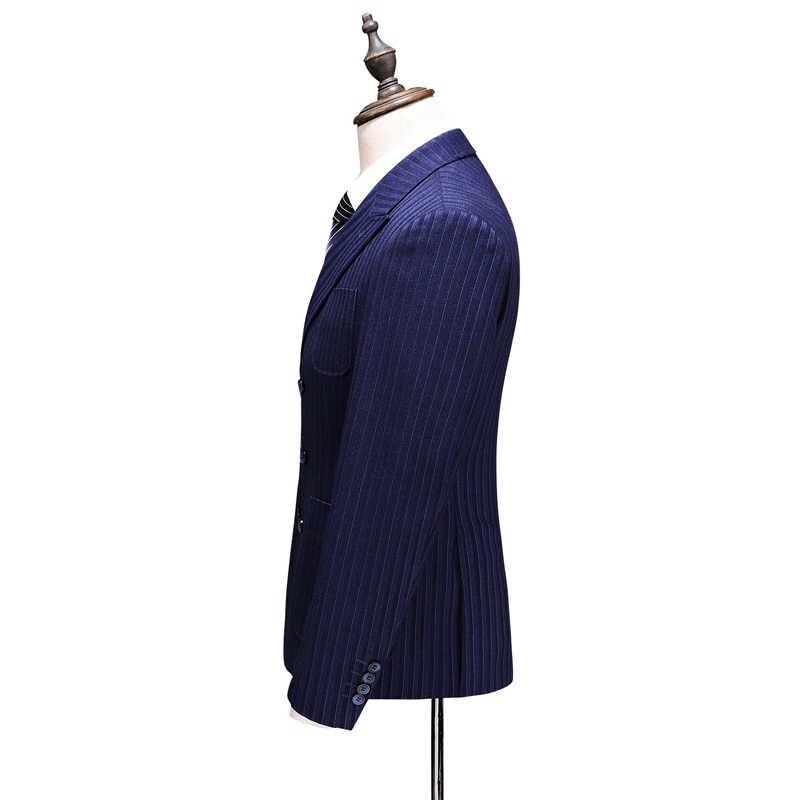 Hommes Blazers trois pièces costumes mâle nouveau automne mode rayé mince ajusté intelligent décontracté affaires robe de mariée Suknie Na Wesele
