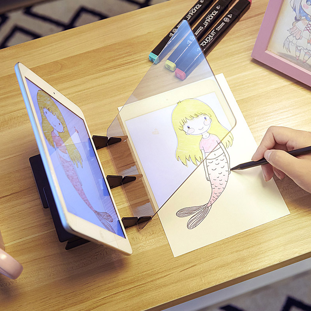 Drawing Painting Sketch Optical Mirror Reflection Projection Tracing Plate Board For Children Painter Artist Animation Industry