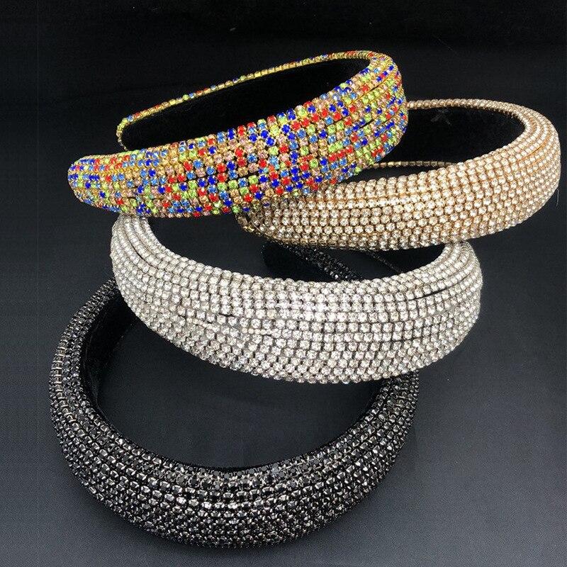 Moda de Luxo Festa de Casamento do Diamante Pedras de Bling Colorido Strass Headbands Senhora Ampla Hairband Ornamento Jóias Acessórios