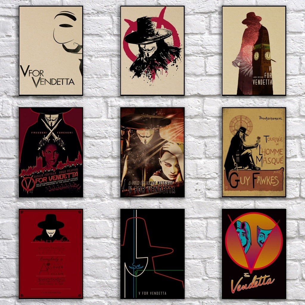 V for Vendetta Poster Retro Kraftpaper <font><b>Democratic</b></font> Revolution Poster Abstract Pop Art Painting Fancy Wall <font><b>Sticker</b></font> image