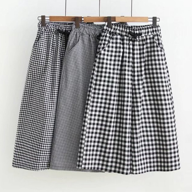 Black And White Plaid Wide Leg Shorts Women Summer High Waisted Cotton Shorts Womens Lace Up Loose Shorts Women 1
