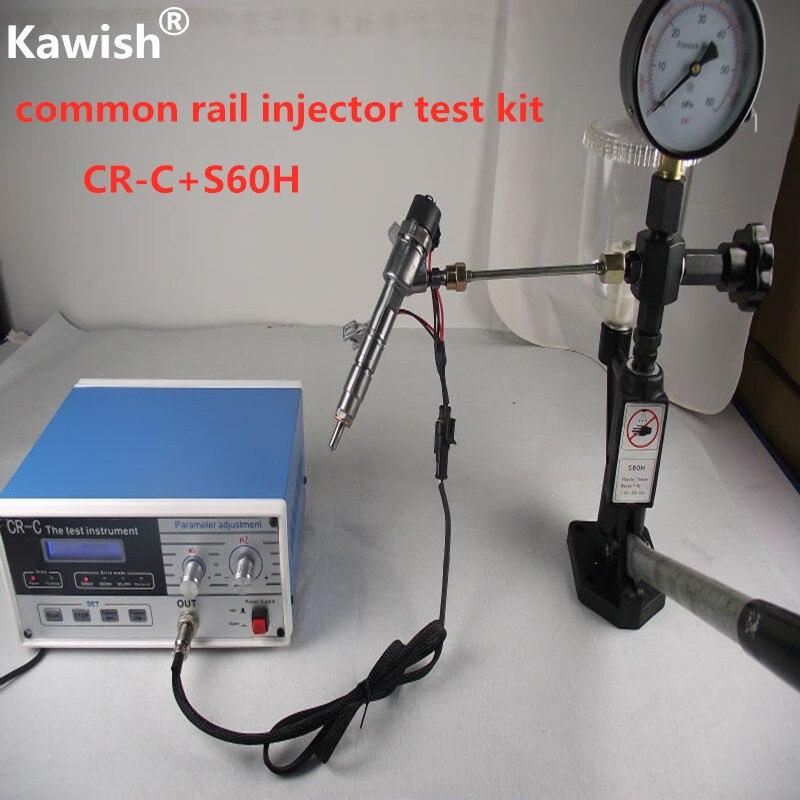 Combinação! CR-C multifunction diesel common ferroviário injector tester + s60h bico validador, ferramenta de testador injector ferroviário comum