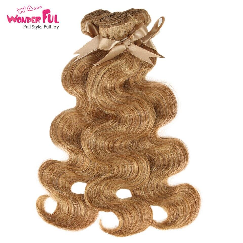 Wa...Wonderful 27/30 Bundles Body Wave Brazilian Hair Weave Bundles 100% Remy Human Hair Extensions 3/4 Bundles 10 to 26 Inches