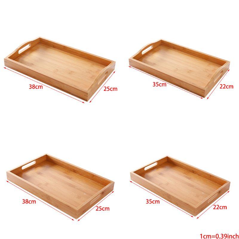 Сервировочный поднос из бамбука с ручками, поднос для чая, поднос для бара, поднос для завтрака, поднос для еды PXPC-0