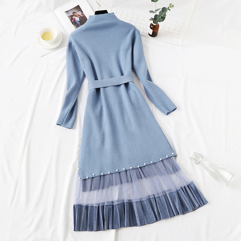 Elegant Stylish Half Turtleneck Long Sweater Dress + Pleated Velvet Skirt 2pcs Women Beaded Sashes Kitted Top and Mesh Skirt Set 34