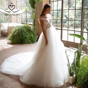 Image 1 - Fairy Beaded Wedding Dress SWANSKIRT I227 Off Shoulder Crystal Belt A Line Illusion Tulle Princess Bridal Gown Vestido de novia