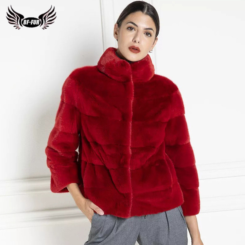 2019 Winter Fashion Red Real Mink Fur Coats For Women High Quality Mink Fur Jackets Real Natural Pelt Fur Coats Outwear Luxury