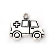HAEQIS 50 Uds aleación Vintage ambulancia forma de coche encantos médico enfermera Tema de joyería Doctor exquisitos encantos 18*22mm AAC1053