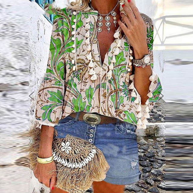 Boho Blouse Elegant V Neck Tassel Women Tops Sexy Three Quarter Sleeve Floral Print Shirt 2020 Spring Autumn Chic Blouses S-2XL 3