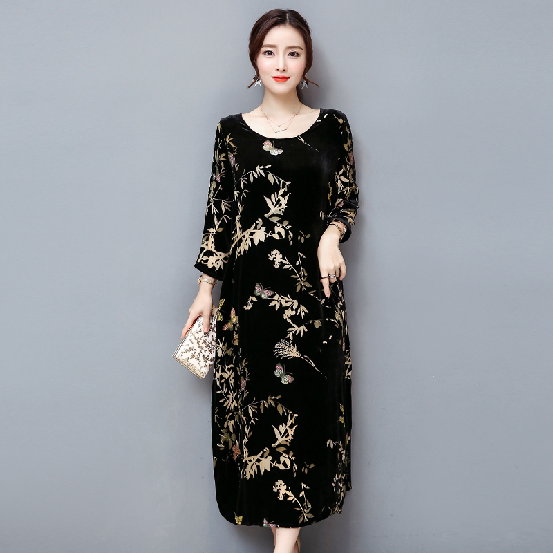 winter  black gold velvet dress