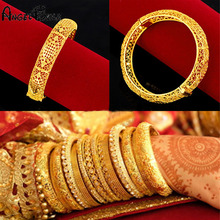 24K Gold-plated Copper charm Bangles For Women Gold Dubai Bride Wedding Bracelet Africa Arab Jewelry luxury No Fade Bracelets 24k gold wedding jewelry charm bracelets for women luxury gold chain bracelets
