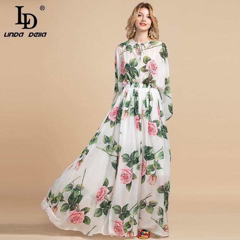 LD LINDA DELLA Summer Fashion Runway Boho Maxi Dresses Women's Long Sleeve Rose Flowers Print Holiday Elegant Party Long Dress