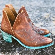 Outono inverno casual ocidental cowboy tornozelo botas de couro feminino botas de vaca curto cossacos botas botas de salto alto botas mujer