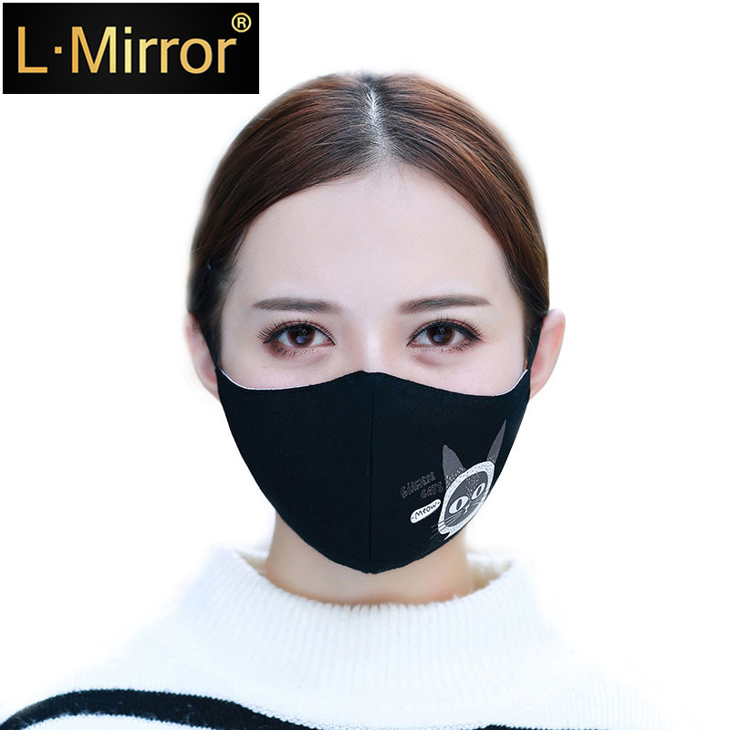 L.Mirror 1PCS Cotton Dustproof Allergy Mouth Face Mask Fashion Cat Women Muffle Face Mouth Masks Reusable