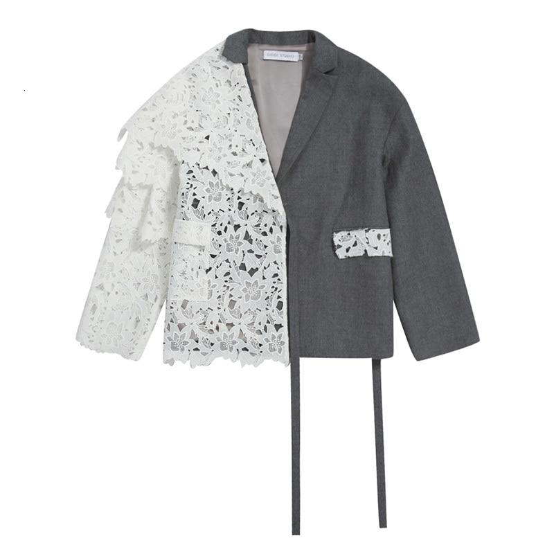 [EAM] Loose Fit Contrast Color Lace Big Size Jacket New Lapel Long Sleeve Women Coat Fashion Tide Spring Autumn 2020 1D319 7