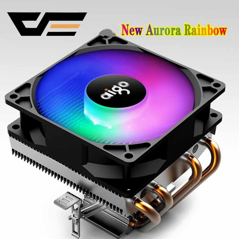 Aigo وحدة المعالجة المركزية برودة LED وحدة المعالجة المركزية مروحة التبريد PWM الصامت وحدة المعالجة المركزية برودة LGA/2011/115X/775/AMD 3Pin الكمبيوتر وحدة المعالجة المركزية التبريد المبرد 4 أنابيب نحاسية المشجعين
