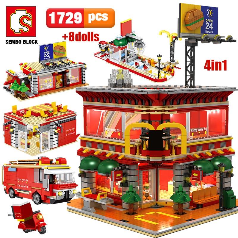 SEMBO 1729pcs City Street View 4 In 1 LED Restaurant Architecture House Car Truck Model Building Blocks Toys For Kid