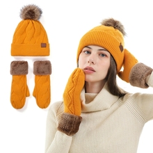 Gloves-Set Hat Beanie Winter Women Warm Knit Pompom Cable Skull-Cap Lined Mittens Cuffed