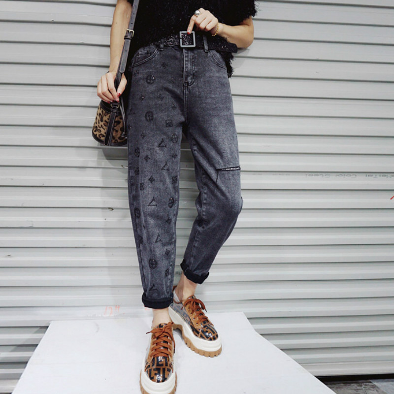 High Waist Jeans Women Vintage Plus Size One Side Printed Femme Harem Pants Loose Boyfriend Denim Jeans Streetwear Trousers