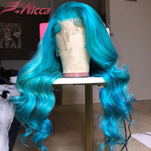 Licht Blau Menschliches Haar Perücken Für Frauen Brasilianische Remy Transparent Spitze Perücken Langen Körper Wellenförmige Spitze Vorne Perücke 180 Dichte perücken