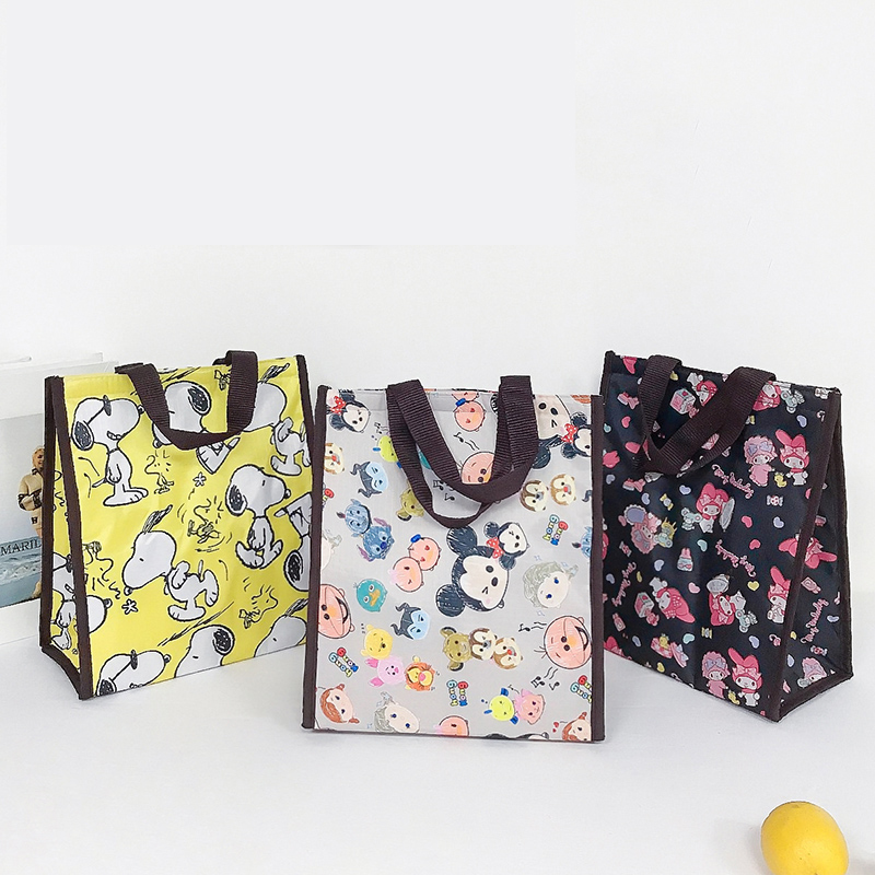 MABULA Lunch Bag Cartoon Eco Tote Insulated Thermal Cooler Handbag Multi-functional Reusable Waterproof Large Shopping Bags