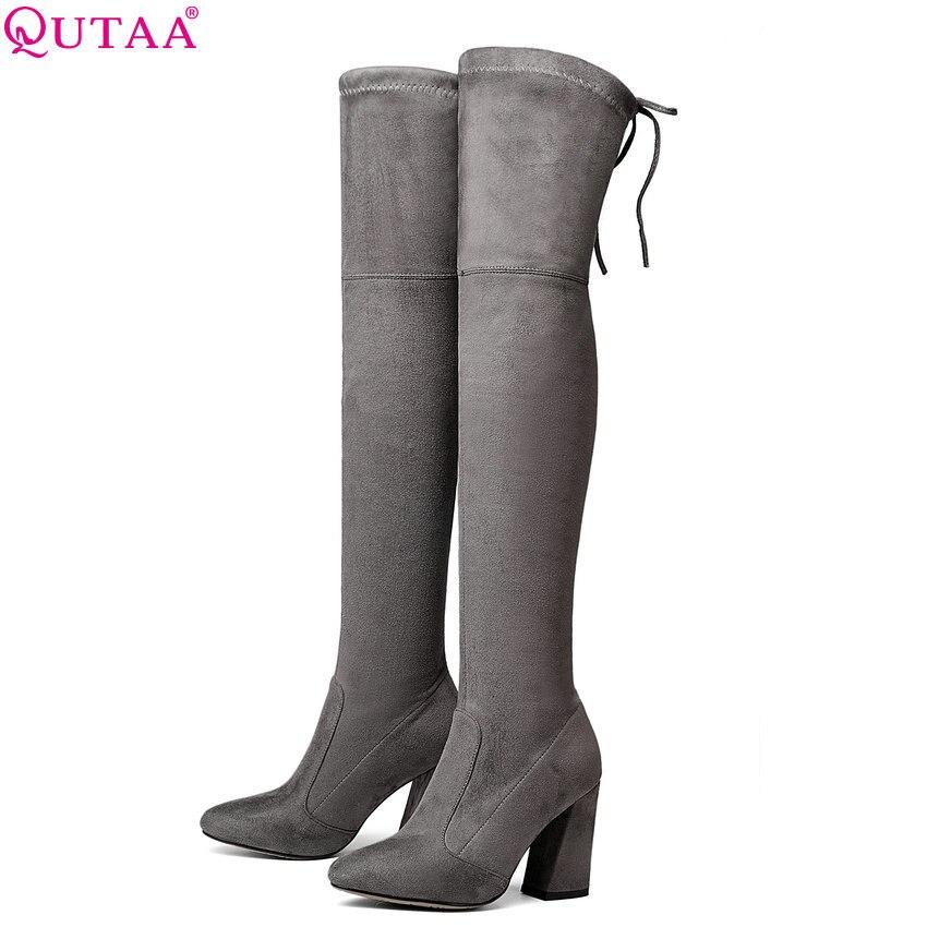 QUTAA 2020 Women Over The Knee High Boots Short Plush Inside Keep Warm Winter Fashion Sexy Hoof Heels Women Boots Size 34-43