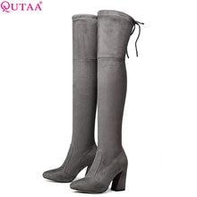 Heels Women Boots Plush-Inside Over-The-Knee Winter Fashion Size-34-43 QUTAA Short Hoof