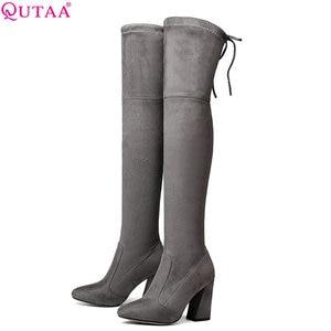 Image 1 - QUTAA 2020 Women Over The Knee High Boots Short Plush Inside Keep Warm Winter Fashion Sexy Hoof Heels Women Boots Size 34 43