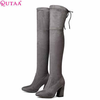 QUTAA 2020 Women Over The Knee High Boots Short Plush Inside Keep Warm Winter Fashion Sexy Hoof Heels Women Boots Size 34-43 - DISCOUNT ITEM  48% OFF All Category