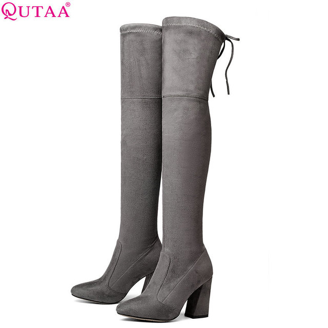 QUTAA 2020 Women Over The Knee High Boots Short Plush Inside Keep Warm Winter Fashion Sexy Hoof Heels Women Boots Size 34 43