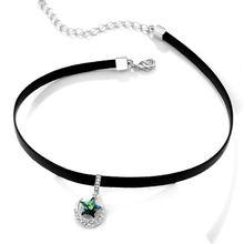 Модное кожаное ожерелье чокер для женщин с кристаллами звездами