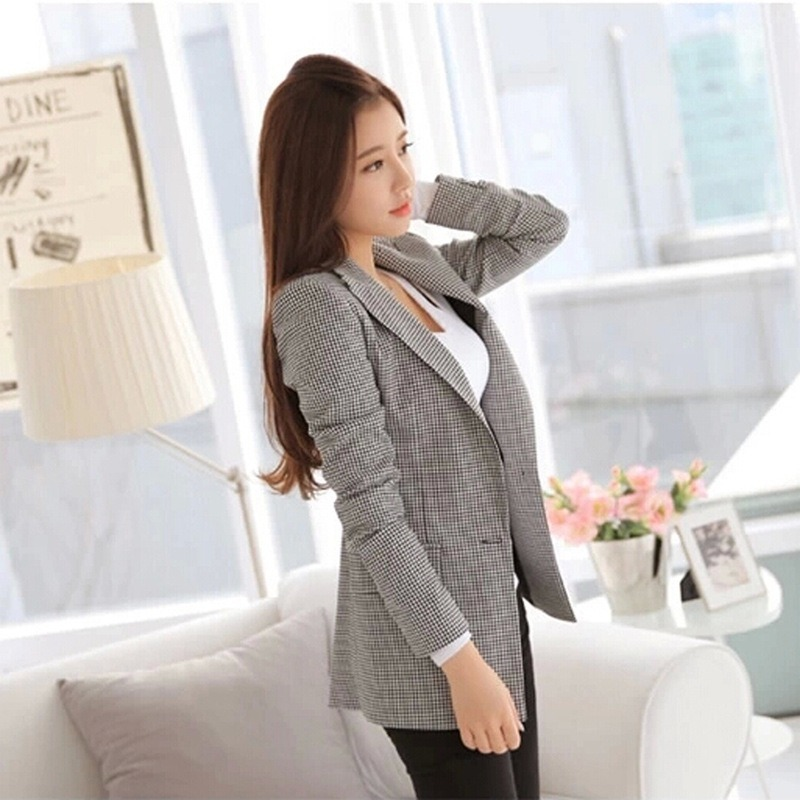 2019 autumn and winter women's suit houndstooth suit ladies long-sleeved small suit female plaid jacket slim female blazer